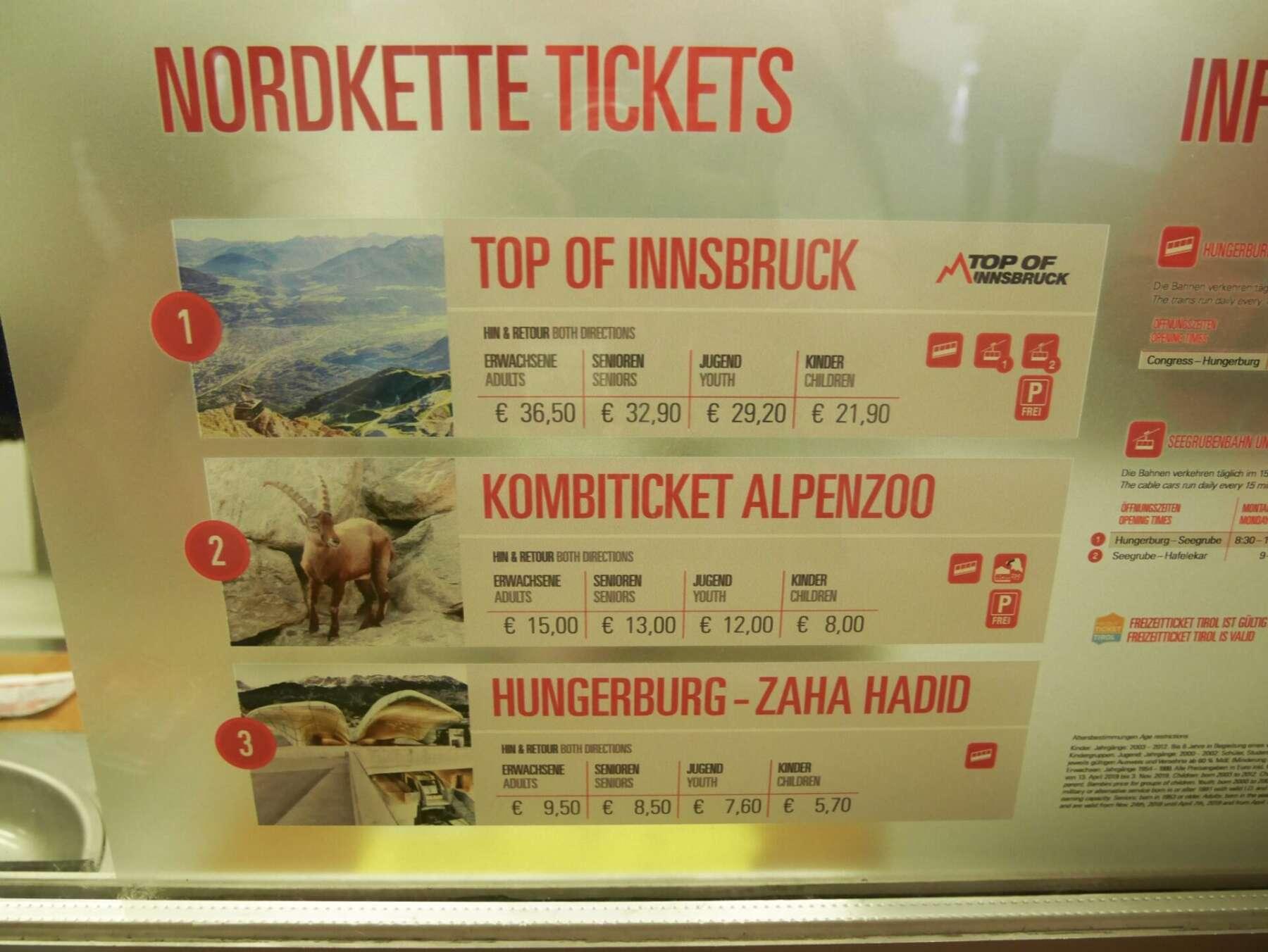 เคเบิ้ลคาร์ในเมืองอินส์บรุค (Nordkette Cable Car)